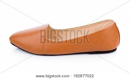 Closeup Leather shoes isolated on white background