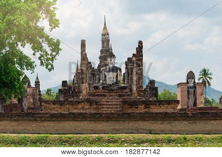 old buddha and pagoda at Sukhothai Historical ParkThailand