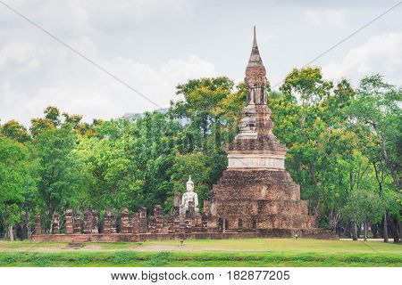 Old pagoda at Sukhothai Historical Park in Thailand