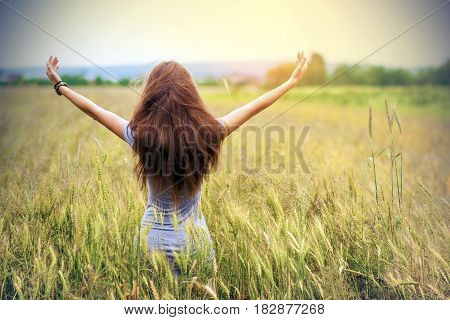 Young woman with long brown hair standing in wheat field raising hands. Unity with nature concept. Vintage soft light effect.