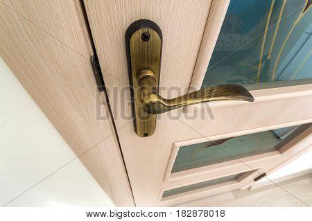 Modern contemporary satin wooden door metal handle close-up detail
