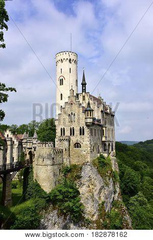 Lichtenstein Castle built on a rock in Germany.