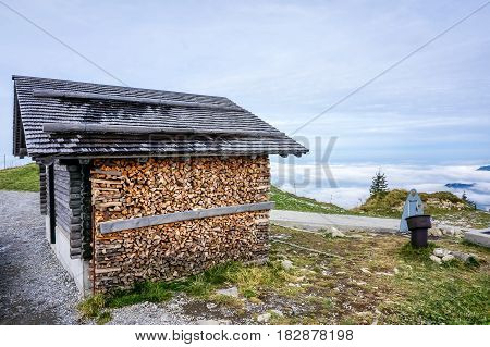 The stacks of firewood on the mountain