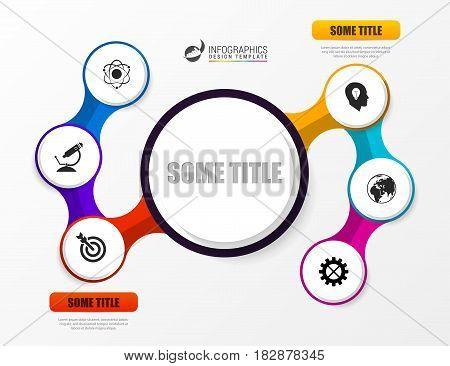 Six steps elements bubble chart. Infographic template. Vector illustration