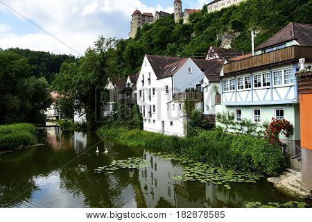 The castle Harburg overlooking the town of Harburg on the Wornitz river.
