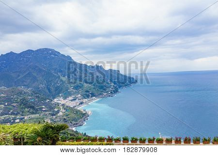 Beautiful view from balcony of Villa Rufolo Ravello town Amalfi coast in the cloudy day southern Italy