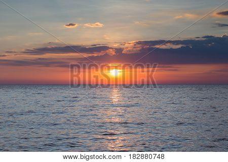 Sunset over coastline skyline nautral landscape background