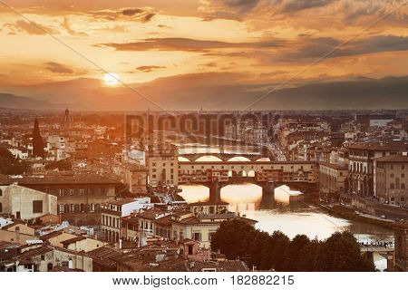 Florence skyline viewed from Piazzale Michelangelo at sunset