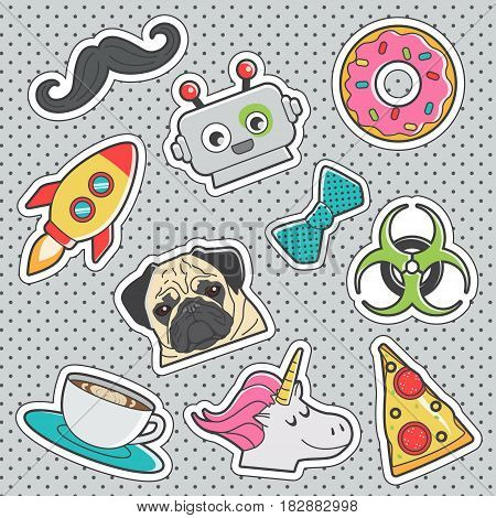 Set of fun trendy vintage sticker fashion badges withunicorn, start-up rocket, pug dog, pizza sweet doughnut. Vector illustrations for iron on patches, transfer tottoos, sew on chevron.
