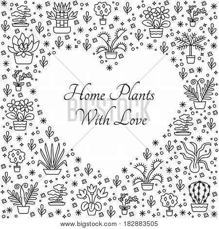 House Plants Concept For Garden Center, Flower & Florist Shop In Line Style. Vector Illustration Fro
