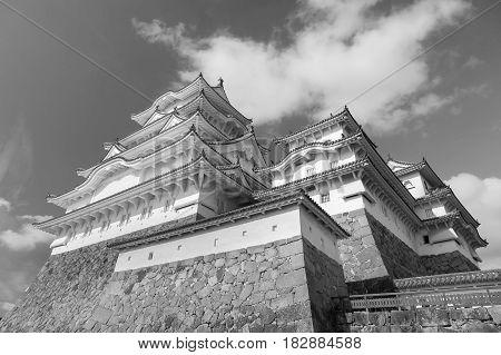 Black and White Himeji castle Kansai Japan historic landmark background