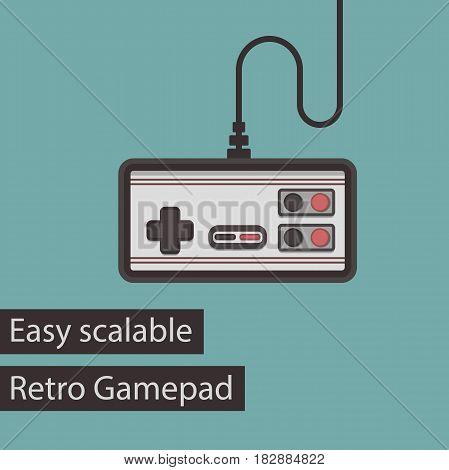 Retro Gamepad Flat Style Vector Icon. Easy Scalable Vintage Joystick Illustration.