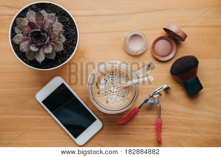 Morning Routine Background With Phone, Rouge, Shadows, House Plant, Coffee On The Table