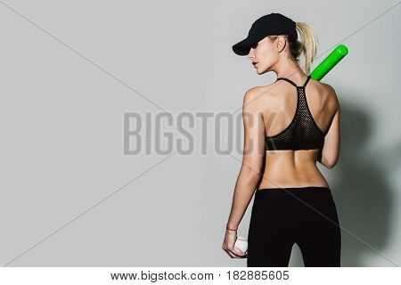 Pretty Sporty Girl Athlete Player Holding Green Baseball Bat, Ball
