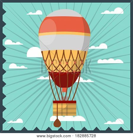 Vector illustration of the obsolete aerostat floating in the sky.