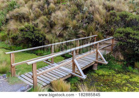 Wooden bridge Cotopaxi national park Ecuador South America