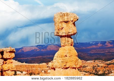 Sandstone earth material exposed to erosion action at Bryce Canyon National Park, Utah, USA