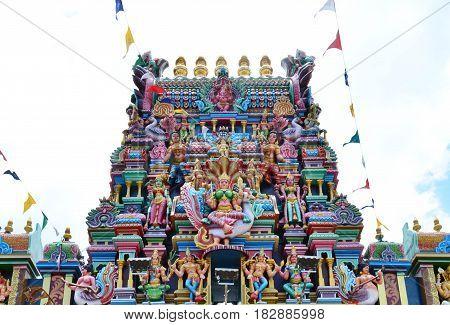 Hindu god statues on the facade of Hindu temple Penang Malaysia