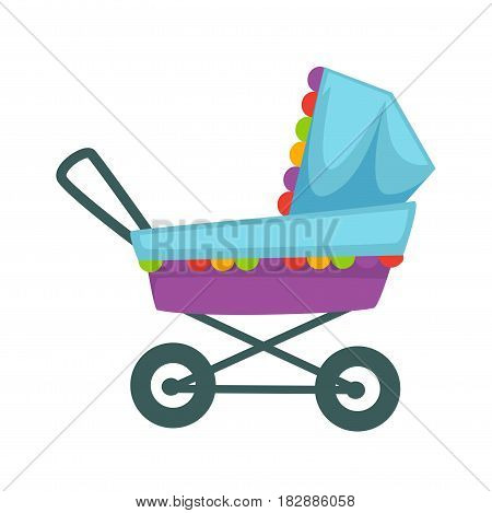Baby transport pram in blue and violet colors decorated with colorful frill. Stroller icon vector illustration isolated on white. Transportation carriage for newborn children, cradle in flat design