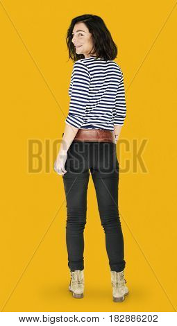 Woman Rear View Smiling Happiness Casual Studio Portrait