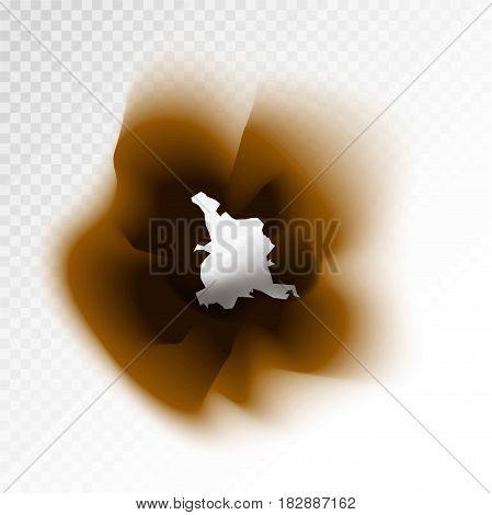 Burned brown isolated paper hole on transparent background. Vector illustration in flat design of damaged element with result of flame burning. Document damaging template with burnt through part