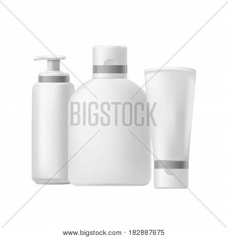 Blank three beauty hygiene containers isolated on white. Vector poster of realistic bottles for shampoo, hair conditioner or cream, and other purposes. Body care cosmetic jars poster template