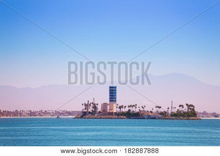 The THUMS artificial island Grissom built for offshore oil extraction off the coast of Long Beach, California