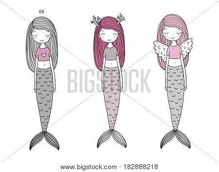 Three cute cartoon mermaids. Siren. Sea theme. isolated objects on white background. Vector illustration.