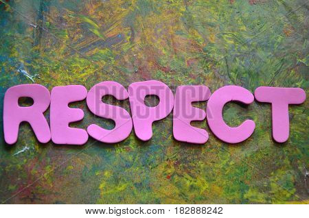 word respect on a  abstract colorful background