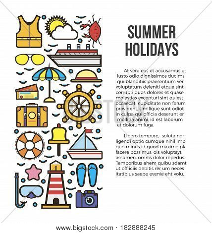 Summer holiday cruise template with marine elements with text on right side. Colorful poster of objects for travelling and relaxation on sea, nautical concept vector illustration in flat design.