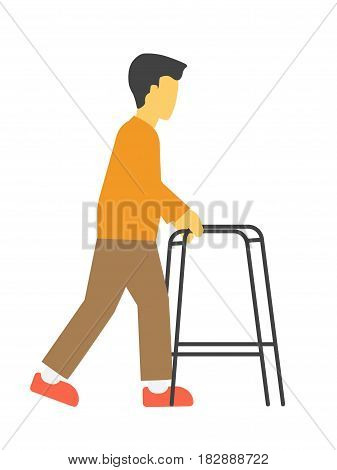 Incapacitated faceless person with metal walkers vector illustration isolated. Walking frame tool for disabled or elderly people who need support to maintain balance or stability while walking