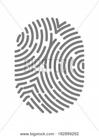 Fingerprint type with circular line signs isolated on white background vector illustration in flat design. Black dactylogram, person identification mark for documents, personal identity symbol