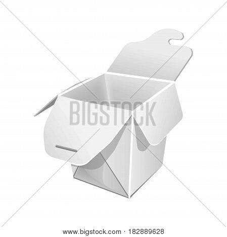 Food packaging blank open paper bag isolated on white. Vector in flat design of eco container for take away food storing. Carton box for meal storage template, cardboard ecologically safe package