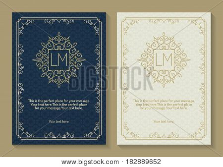 Greeting card set with monogram logo and frame line style gold color on vintage background for use banner of hotel label, spa service, business offer, wedding invitation etc. Vector Illustration