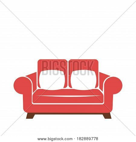 Sofa icon in red and white colors vector isolated illustration. Lounge settee graphic symbol, stylish furniture sign for houses and offices, comfortable couch logotype in flat style design