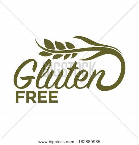 Gluten free in organic heallthy food products logo design isolated on white. Dough without harmful substances vector illustration in flat style with wheat and written text logotype, nutrition baking