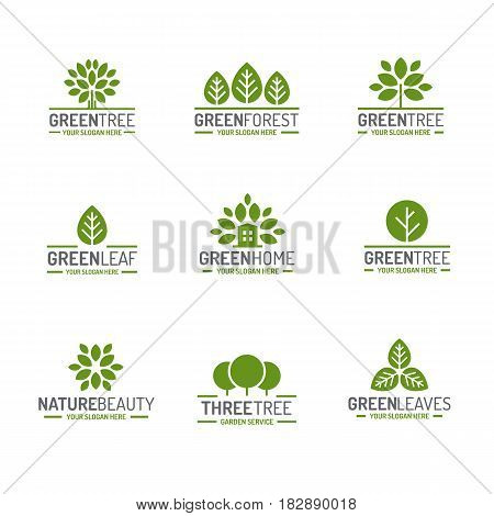 Leaves and tree logo set green color flat style for ecology company, nature firm, natural product store, organic shop, alternative medicine, green unity, garden, farming, forest. Vector Illustration