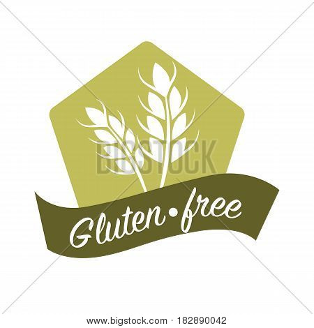 Gluten free substance in cereal grains logo design with two ears of wheat and text vector illustration isolated on white. Ingredient responsible for elastic texture of dough due to mixture of proteins