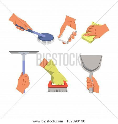 Hands and arm in protective glove holding different tools for cleaning. Cleanup equipment consists of glass scraper, brush with red handle and sponge, gray scoop, white rag vector illustration.