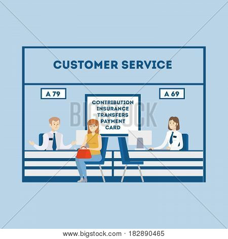 Customer service at bank. Bank workers with visitors. IInsurance, payment and card.
