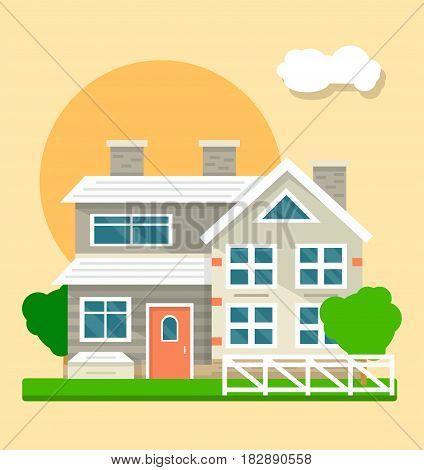 Beautiful two-storied house with mansard floor on sunset or sunrise background. Gray villa with three chimneys and red door. White fence, verdant grass and two trees near dwelling vector illustration.