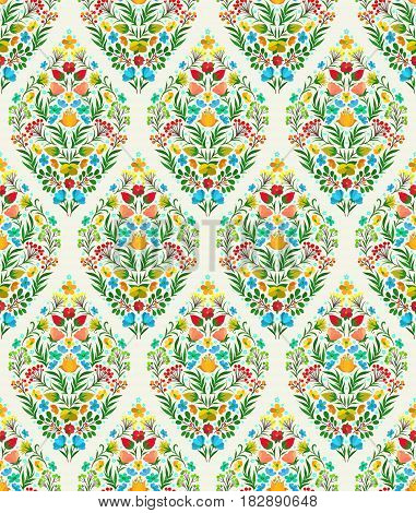 Boho style flower seamless pattern. Tiled floral design, best for print fabric or paper and more.