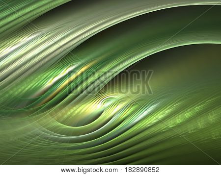 An abstract computer generated modern fractal design on dark background. Abstract fractal color texture. Digital art. Abstract Form & Colors. Abstract fractal element pattern for your design. Textured greens. Fabric pattern