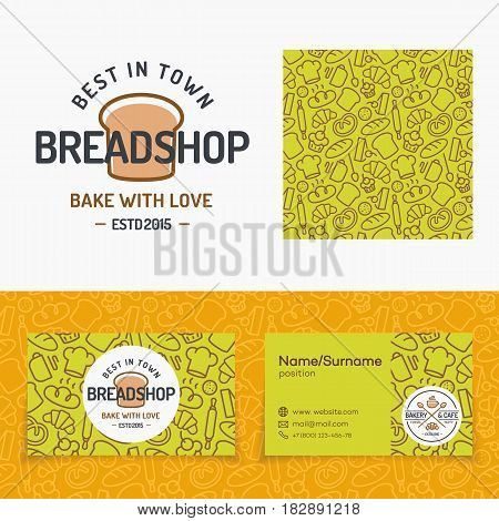 Bread shop set with logo, seamless pattern and cards for identity bakery shop, baking firm, loaf store, food market, coffee shop, cafe etc. Vector Illustration