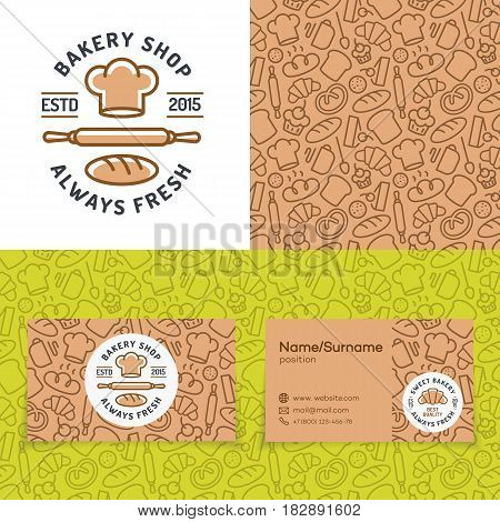 Bakery shop set with logo consisting of chefs hat, rolling pin and loaf, seamless pattern and cards for identity baking firm, loaf store, food market, coffee shop, cafe etc. Vector Illustration