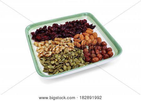 Nuts: raisins almonds hazelnuts nuts and seeds