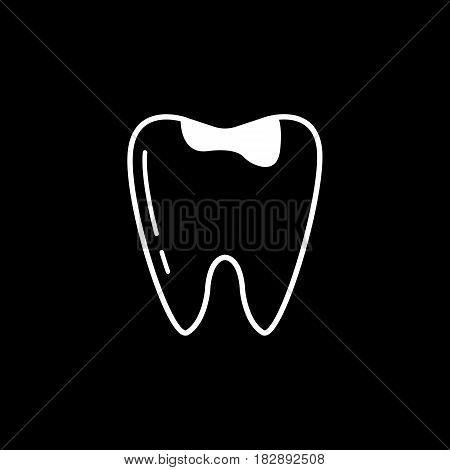 Caries tooth line icon, Dental and medicine, sick tooth vector graphics, a linear pattern on a black background, eps 10.