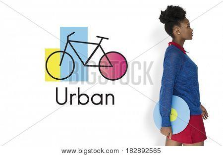 African Woman Studio Shoot on White Background Bike Icon