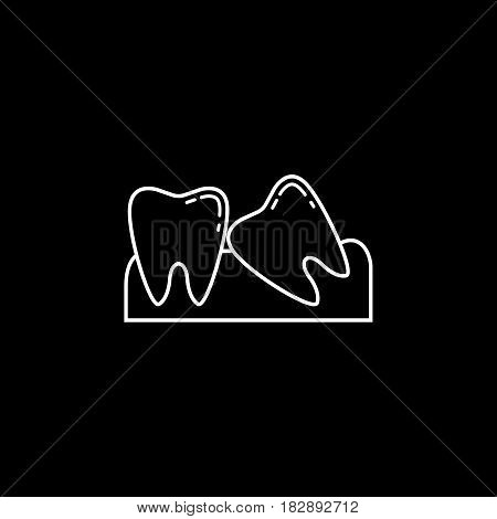 Wisdom teeth line icon, Dental and medicine, vector graphics, a linear pattern on a black background, eps 10.