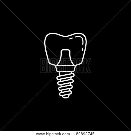 Dental implant line icon, Dental and medicine, vector graphics, a linear pattern on a black background, eps 10.